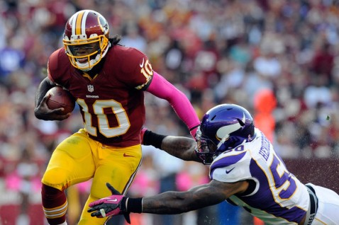 Robert Griffin III leads the Redskins into Minnesota to face the Vikings (Via Getty)