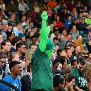The BU Zoo's fan mascot, Mr. Green (Via Binghamton University)