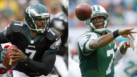 Michael Vick will go head to head with Geno Smith for the starting QB job. (Via Getty Images)
