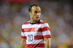 It should be a little strange seeing Landon Donovan sitting in an ESPN studio rather than playing on the field. (Via AP)