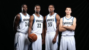 The rest of the NBA must watch out for the young core the T'Wolves have built. (From Left: Bennett, Wiggins, Young, LaVine)  (Via Timberwolves)