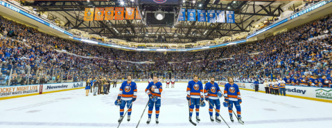 The Islanders before the final regular season game at Nassau Coliseum on April 12, 2015